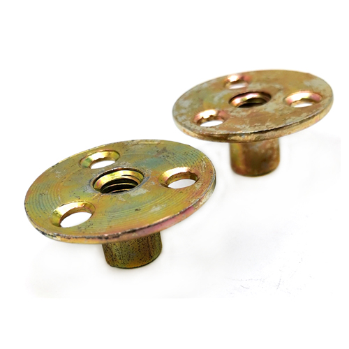 Yellow Zinc Plated Blind Rivets Nuts With Three Hole / Round Base M10 T Type Tee Nut