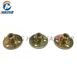 Color Zinc Plated Round Base T nuts With Three Brad Hole Tee Nut